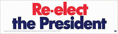 Official 1972 Richard Nixon RE-ELECT the PRESIDENT Bumper Sticker (4175)