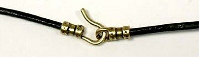 """24"""" Genuine High Quality Greek Black Leather Cord Brass Ends for Ancient Amulets"""