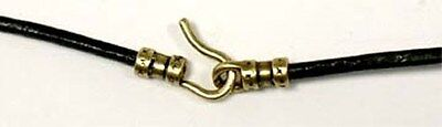 """Leather Cord Black 24"""" Genuine High Quality Greek Brass Ends for Ancient Amulets"""