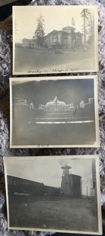 Three 1909 Photos: Alaska-Yukon Pacific Exposition AYP & Train Stop Snapshots