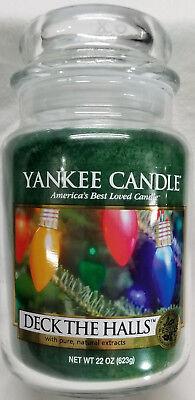 Yankee Candle DECK THE HALLS Large Jar 22 Oz Green Housewarmer New Wax Christmas