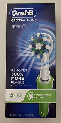 فرشاة أسنان أورال-بي كروس أكشن الكهربائية القابلة لإعادة الشحن من براون. جديد في المربع. أخضر