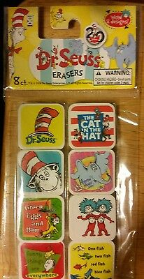 DR SEUSS CAT IN THE HAT SQUARE ERASERS GREEN EGGS & HAM ONE FISH TWO FISH