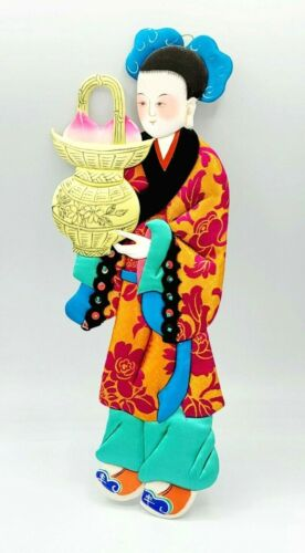 """Vintage Asian Handcrafted Paper Doll Satin Silk 12 1/2"""" Hand Painted Ornament"""