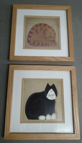 2 Fiddlestix Cat Series Primitive Cat Prints Wall Hanging Glass Framed Poster