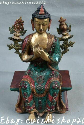 Tibet Turquoise Bronze 24k Gold Sakyamuni Shakyamuni Amitabha Buddha statues