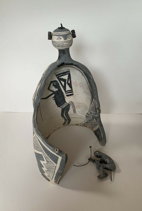 Native American Pottery Mimbres Effigy Sculpture New Mexico Vtg By H. Cordova