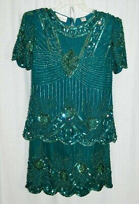 80s Dresses | Casual to Party Dresses Laurence Kazar Small Dress Green Silk Beaded Sequin Short Sleeve Two Piece 1980s $49.99 AT vintagedancer.com