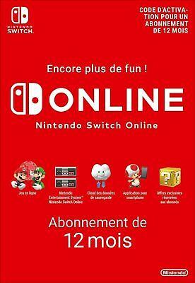Nintendo Switch Online Abonnement 12 Mois Compte FR & UE Cadeau Anniversaire