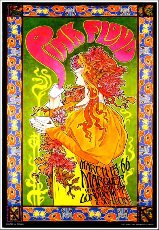 Hand Signed Pink Floyd Marquee Club Poster Mad Hatter Tea Party by Bob Masse COA