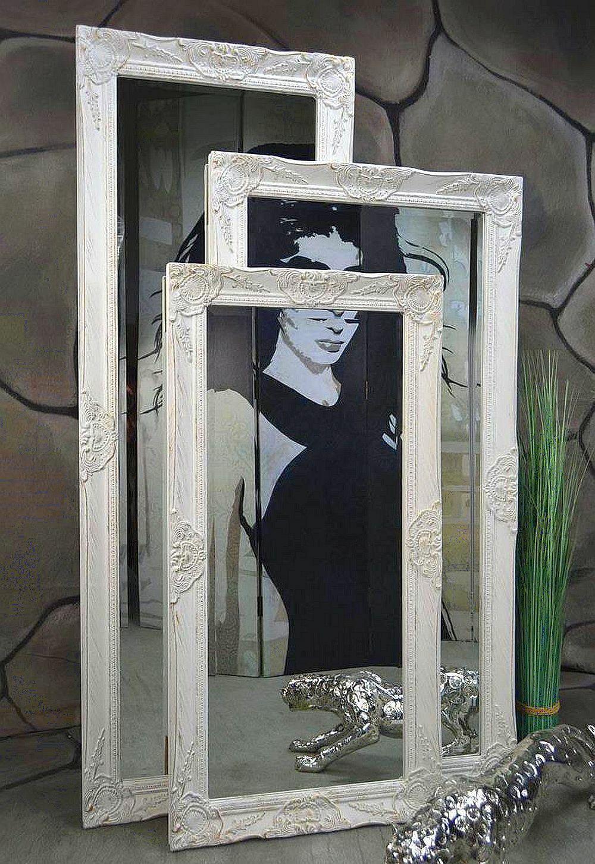 Wandspiegel Badspiegel Spiegel barock antik Weiß Landhaus Rokoko 140 x 50 cm u.a