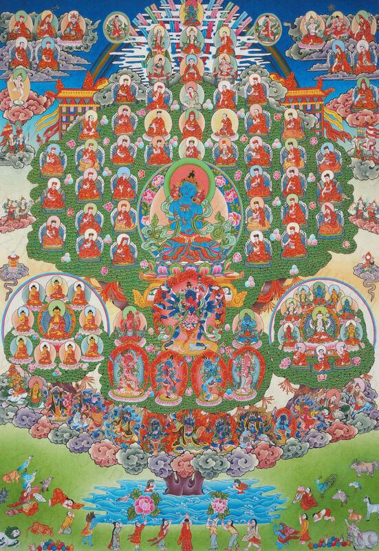 """48"""" BLESSED BROCADE TIBETAN THANGKA SCROLL : VAJRADHARA Refuge Tree of Kagyupa -"""