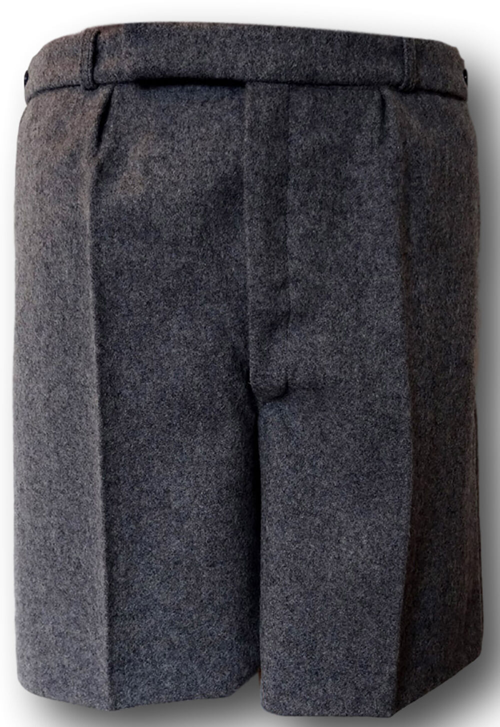 Shorts BUTTON FLY Adult Sizes Grey Wool Worsted School Uniform Short Trousers
