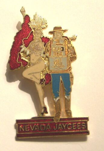 NEW: VINTAGE TOPLESS NEVADA SHOWGIRL AND SLOT MACHINE JAYCEES LAPEL HAT PINS