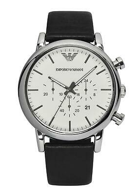Emporio Armani Men's Chronograph White Dial Black Leather Watch AR1807