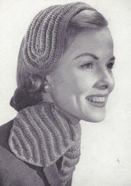 Vintage Crochet Pattern To Make Headband Hat Ascot Scarf Accessories