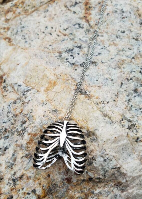 Rib Cage Anatomy Halloween Necklace + Cloth Gift Bag USA Seller