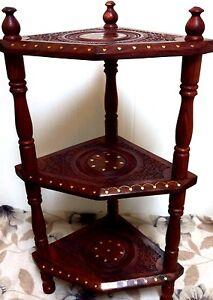 Vintage Handmade 3 Tier Wood Corner Stand Shelf Book Telephone Bedside  Table