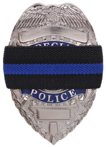 Black Thin Blue Line Elastic Police Officer Badge Mourning Band Rothco 1004