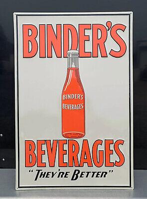 Binders Beverages Metal Sign Soda Bottle Garage Vintage Style Wall Decor Bar Pub