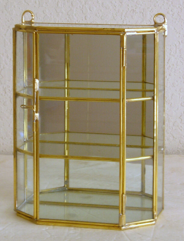 Glass and Brass Small Curio Display Cabinet
