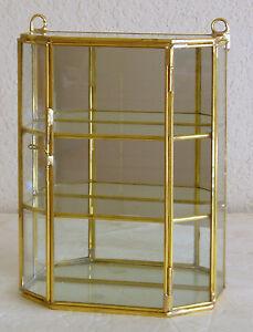 Glass U0026 Brass Mirrored Small Curio Display Cabinet