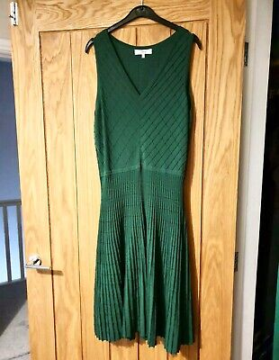 £99 Issa Jessica Knitted Sao Paulo Green dress 16 mid length fit & Flare