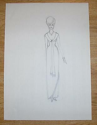 VINTAGE MODERN RETRO MOD FASHION 1960S BUXOM FRINGED DRESS GOWN OOAK ART DRAWING