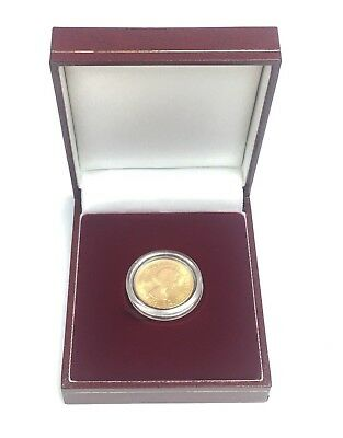FULL SOVEREIGN Padded Case & Capsule Brand New Burgundy Red Gold Single Coin Box for sale  Milton Keynes