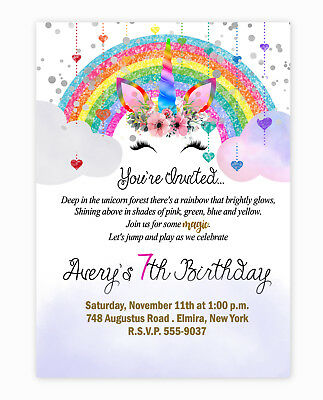 Unicorn Birthday Invitations Party Invites Rainbow LARGE size 20 With Envelopes Invitation Envelope Size