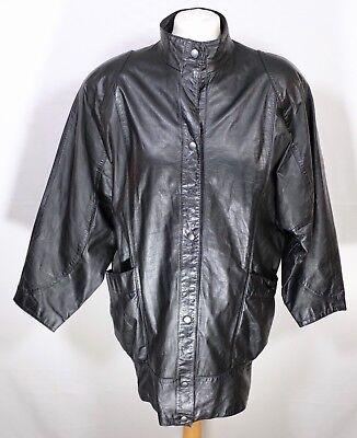 Vintage Black Real Leather Jacket 8 10 Soft Retro Longline Matrix Y2K 90s 00s