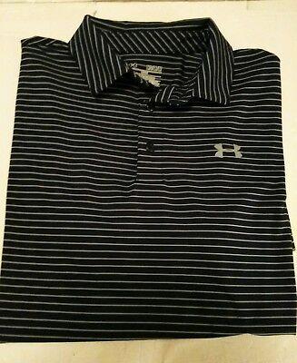 Under Armour Heat Gear Loose Fit Golf Polo Shirt Navy Gray Stripe Medium