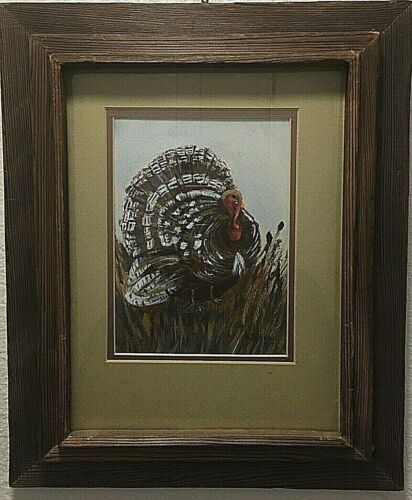 Painting of a wild turkey in its full feathers signed K. Inman 75 rustic frame