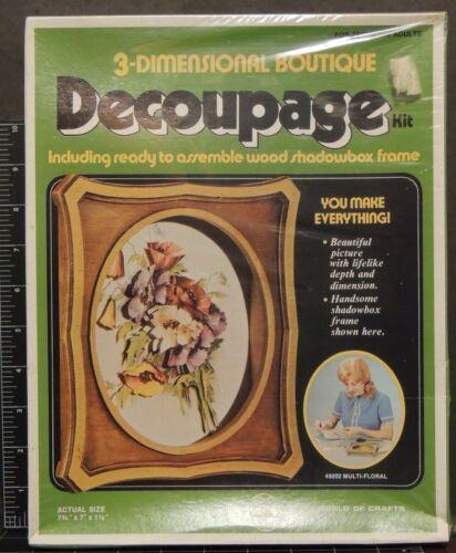 Multi-Floral Decoupage 3-Dimensional Boutique wood Shadow Box vintage arts kit