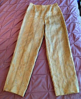Tyler Böe Slacks - 100% Silk - Lined - Embroidered Design - Side Zipper - Size 6 - Lined Silk Slacks