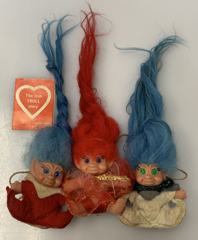 Scandia House Pixie Sitting Troll Lot of 3 1965 Includes Tag / Booklet