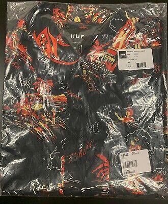 NEW HUF Button Down Aloha Print Black Mens Shirt