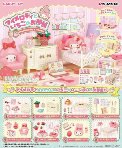 Sanrio My Melody Strawberry Room 8 Type Set Miniature Toy Figure Re-Ment Japan
