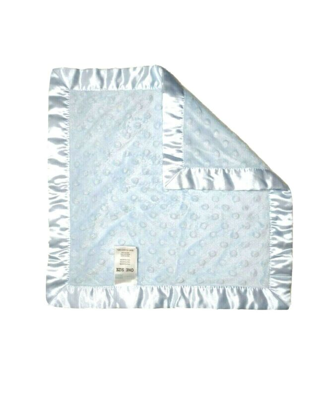 VITAMINS BABY Blue Raised Minky Dot Satin Edge Security Blanket Lovey Soother