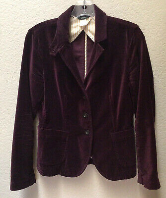 J. Crew Velvet Schoolboy Blazer Women's Size Small Jacket Purple Plum