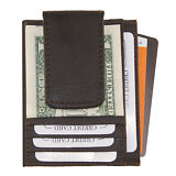 Mens Leather Money Clip Slim Front Pocket Magnetic ID Credit Card Wallet Brown