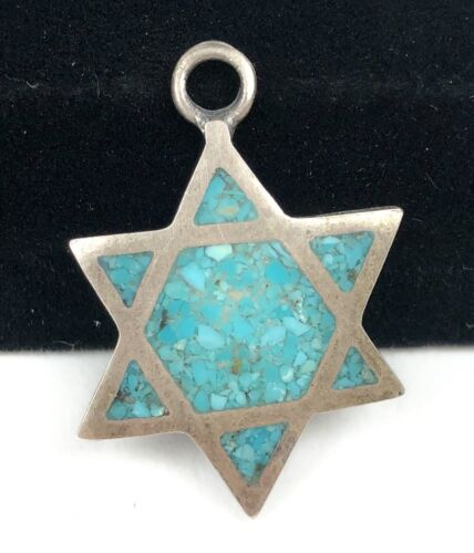 Vintage Star of David Turquoise Inlay Sterling Silver Pendant Tested Unmark