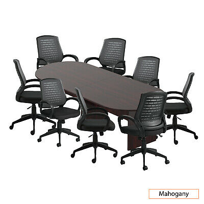 Gof 10 Ft Conference Table With 8 Chairs Mahogany 9-piece Table Set