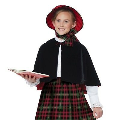 Girls Victorian Christmas Caroler Dickens Costume Dress Plaid Skirt Capelet  (Caroler Costumes)