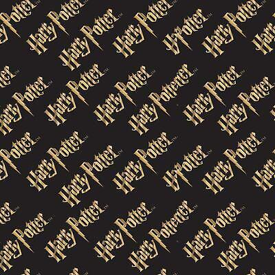 Harry Potter gold logo writting black FQ/Half metre 100% cotton fabric,free p&p,
