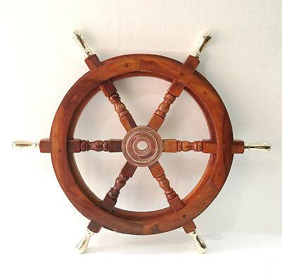 Kirsche Antik Messing (Schiff Rad massivem Kirschholz Messing Griff nautischen Wand Dekor Boot Antik)