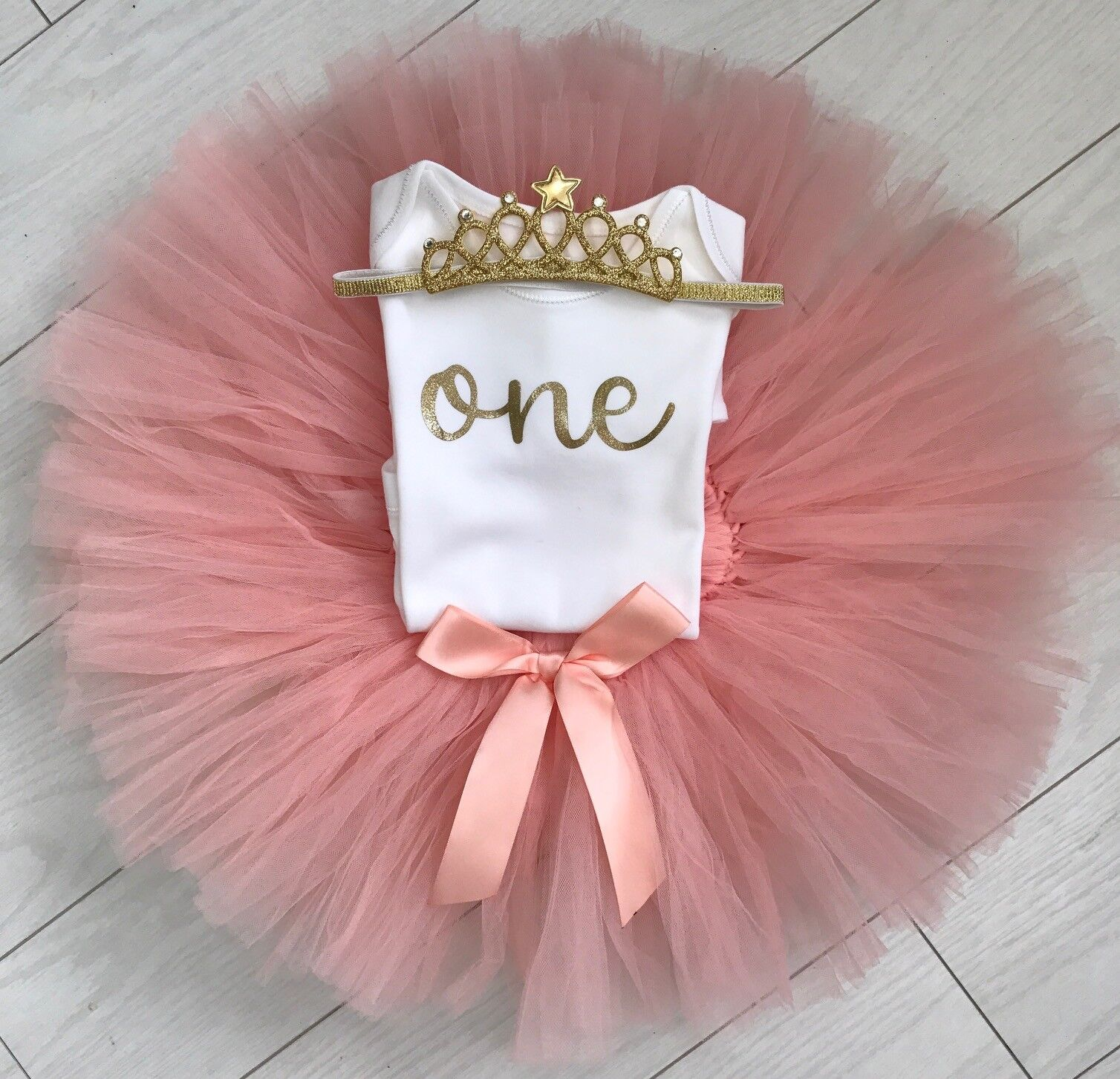 Luxury Girls 1st First Birthday Cake Smash Vest Top Outfit Set Rose Gold Prop