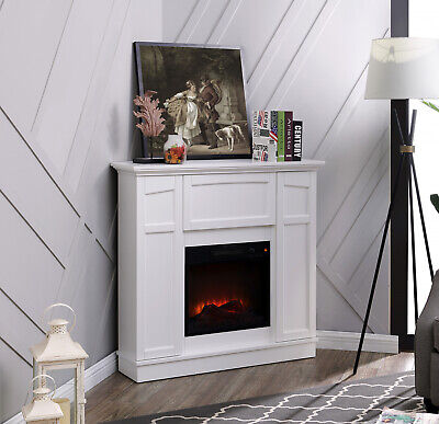 Bold Flame 40 Inch Wall Corner Electric Fireplace Heater Modern White Shaker NEW Corner Indoor Fireplace