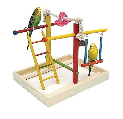 Bird Activity Center Play Gym Parrot Perch Stand Pet Cage Toy Birds Wood Playpen