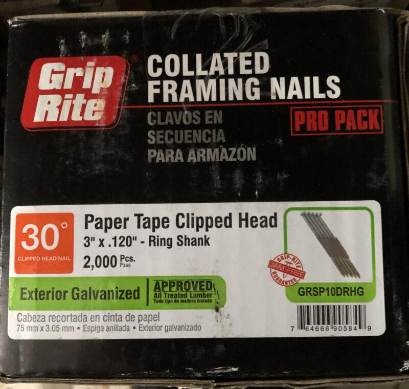 """Grip Rite 3"""" x .120 (10D) Galvanized Ring Shank 30 Deg Clipped Head Nails"""